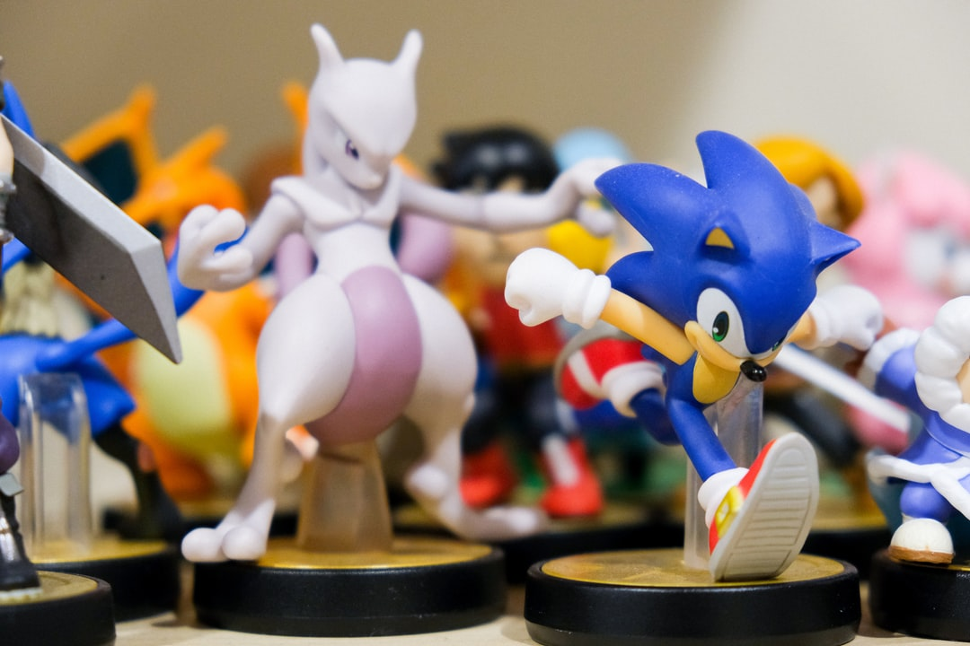 Nintendo amiibo toys of the characters Mewtwo from Pokemon, and Sega's Sonic the Hedgehog.
