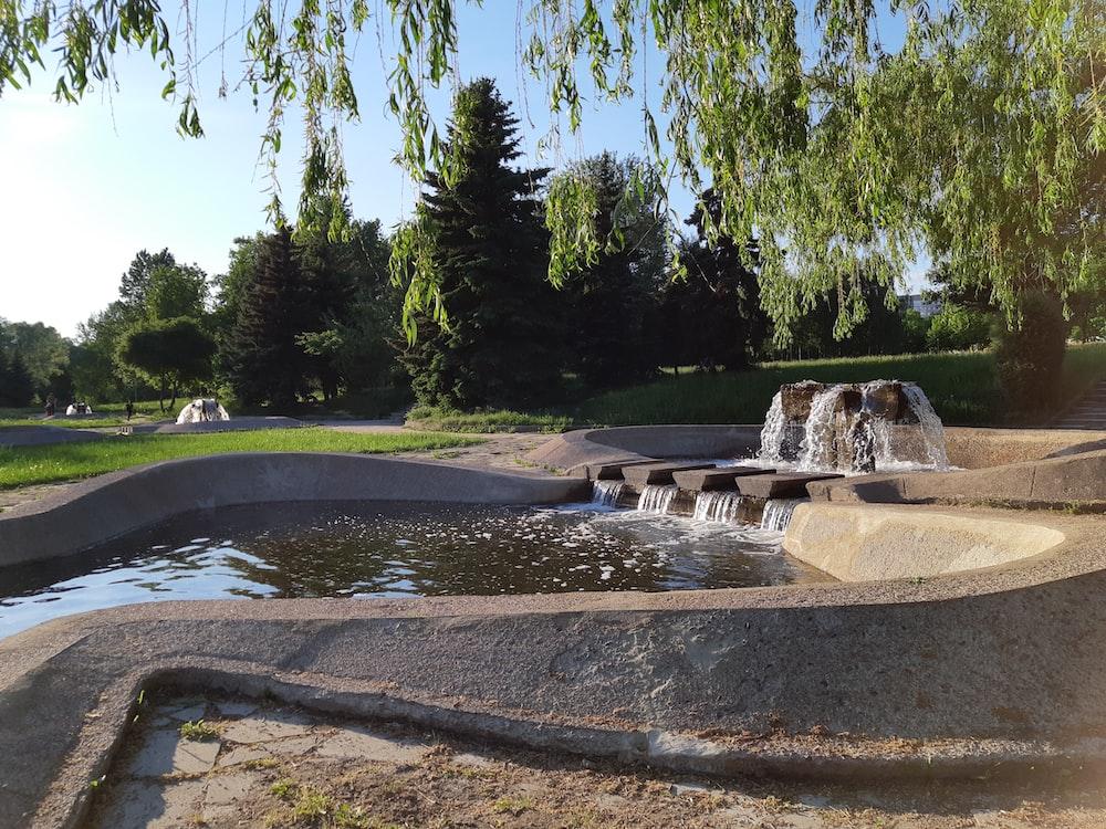 water fountain near trees