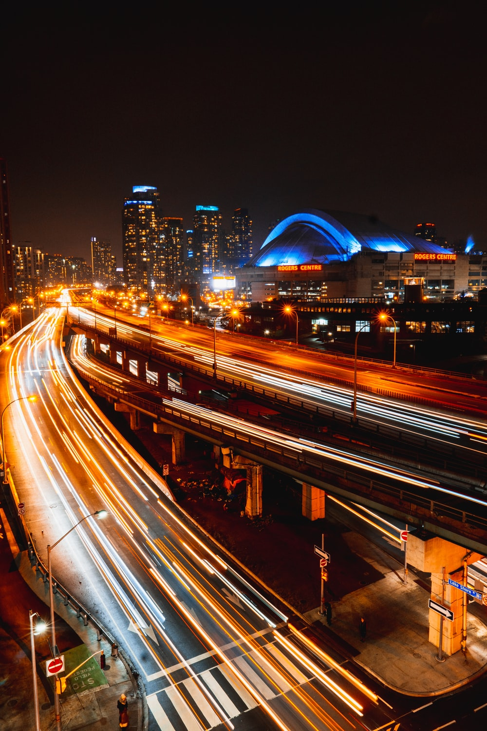 time-lapse photography of bridge during nighttime