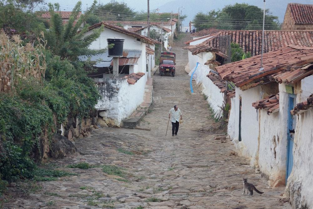 man on pathway near houses