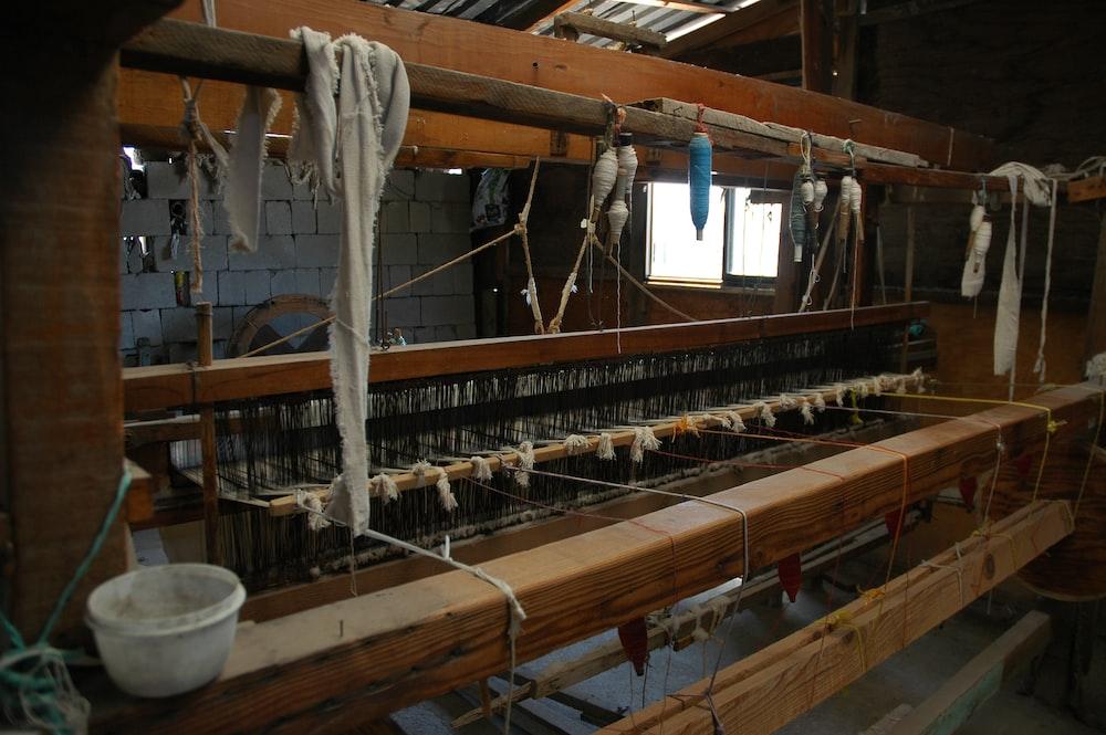 brown wooden machine