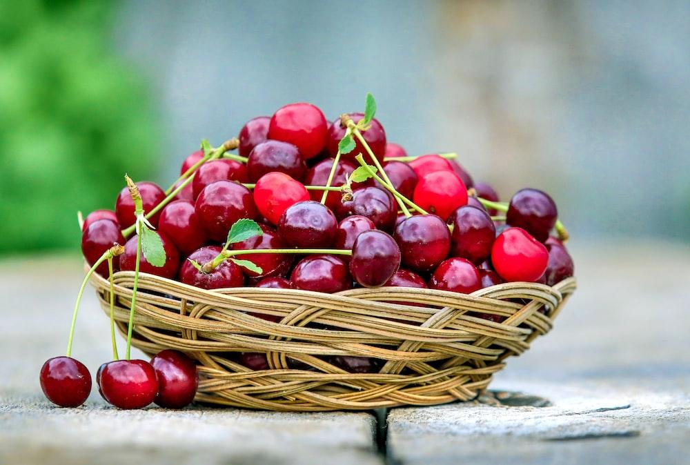 red cherries in basket