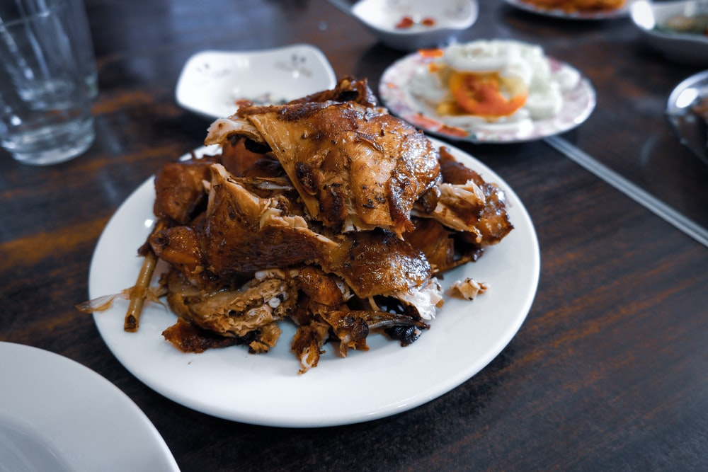 roasted meat on white plate