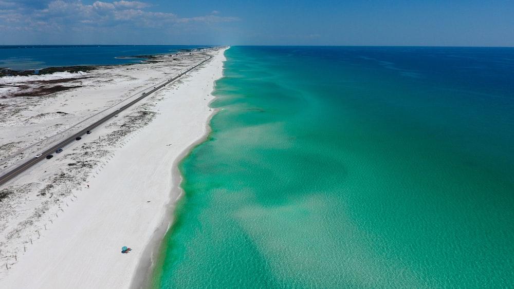 aerial view of seashore across horizon