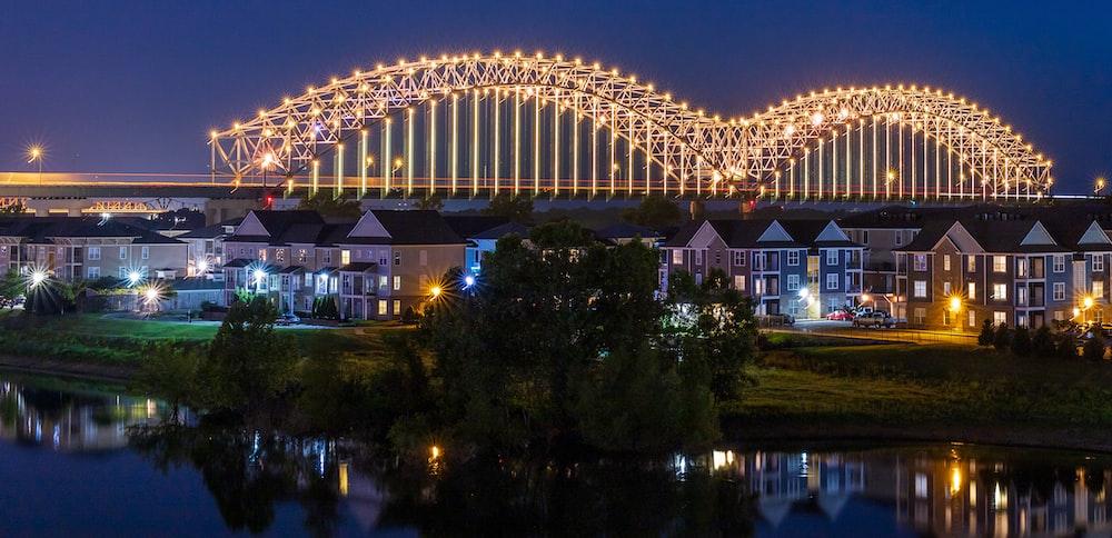 turned-on lights of bridge at nighttime