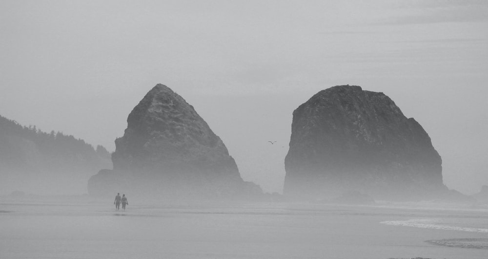 silhouette of two person walking on seashore during foggy weather