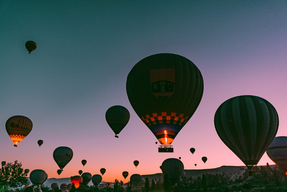 hot-air balloon during golden hour
