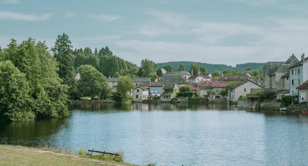 village by a lake