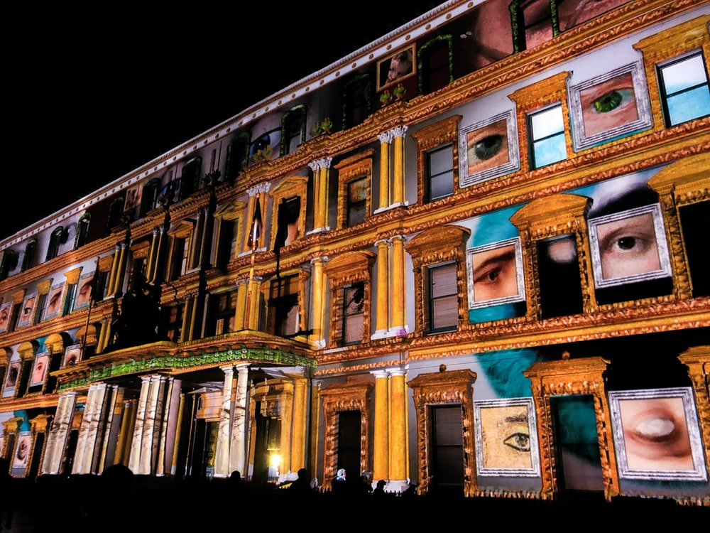multicolored historic building during night time