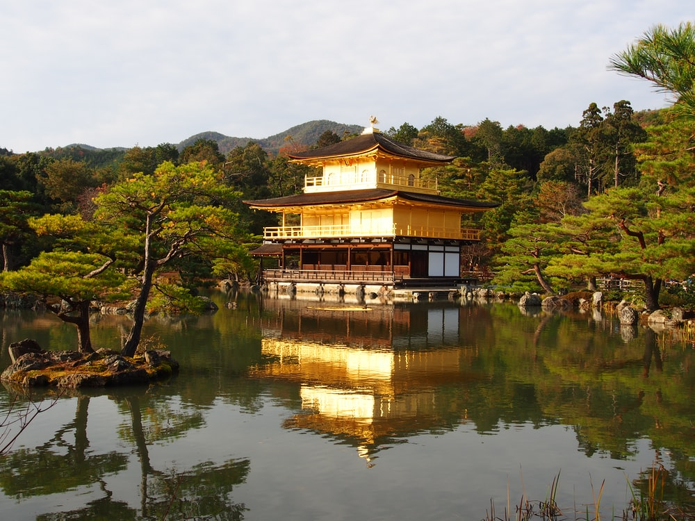 yellow and brown pagoda house surrounded by water and trees