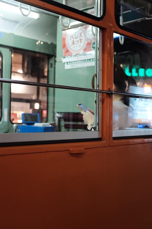 orange metal window frame