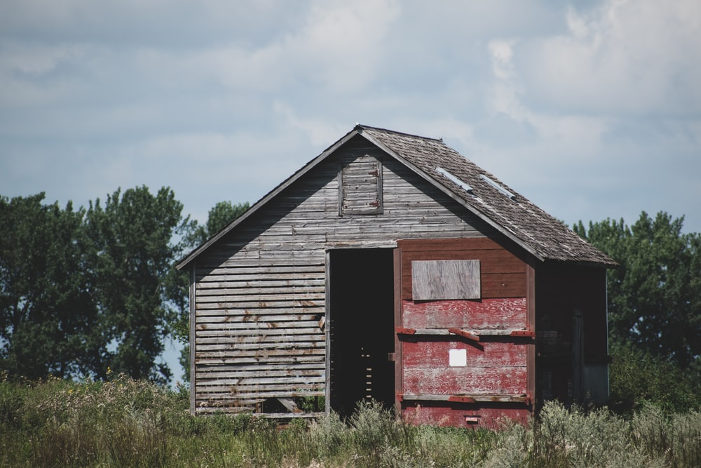 brown wooden shed