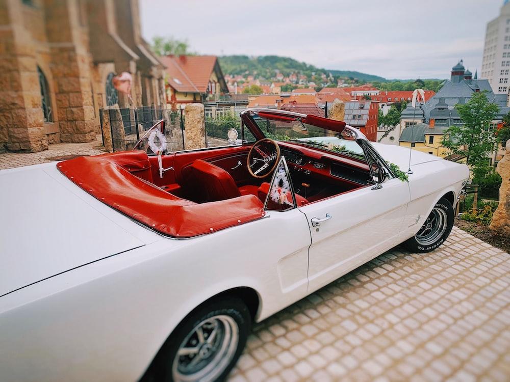 white convertible coupe