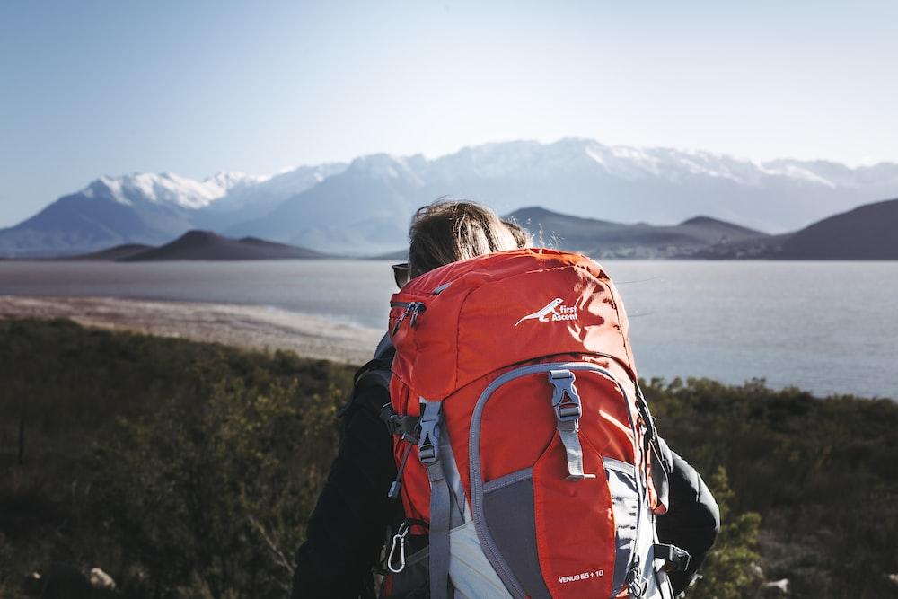 orange hiking backpack