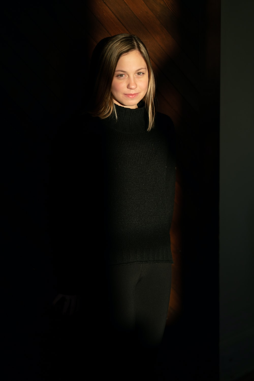 woman in black sweater