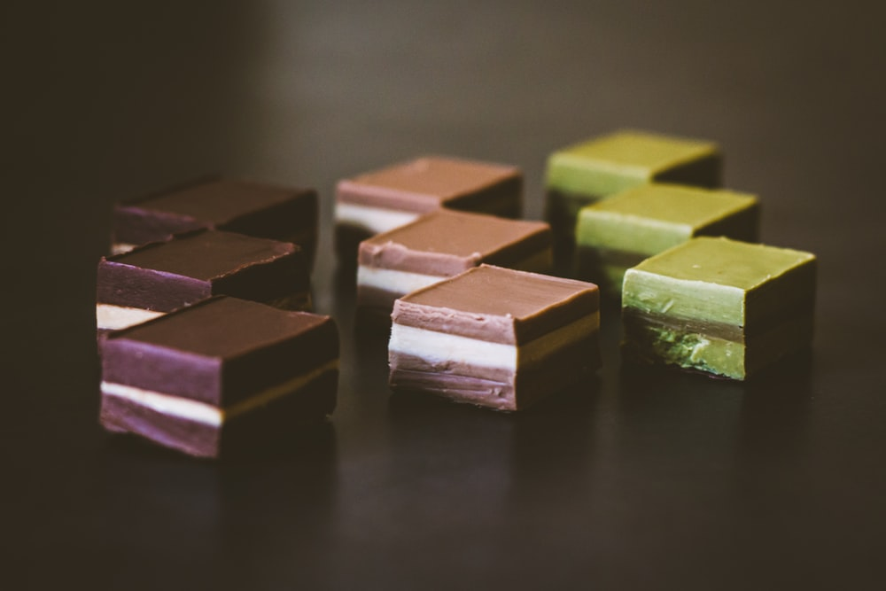 desserts on black surface