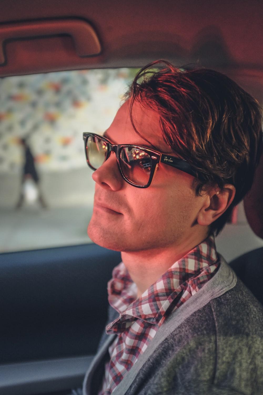 men's black-framed sunglasses