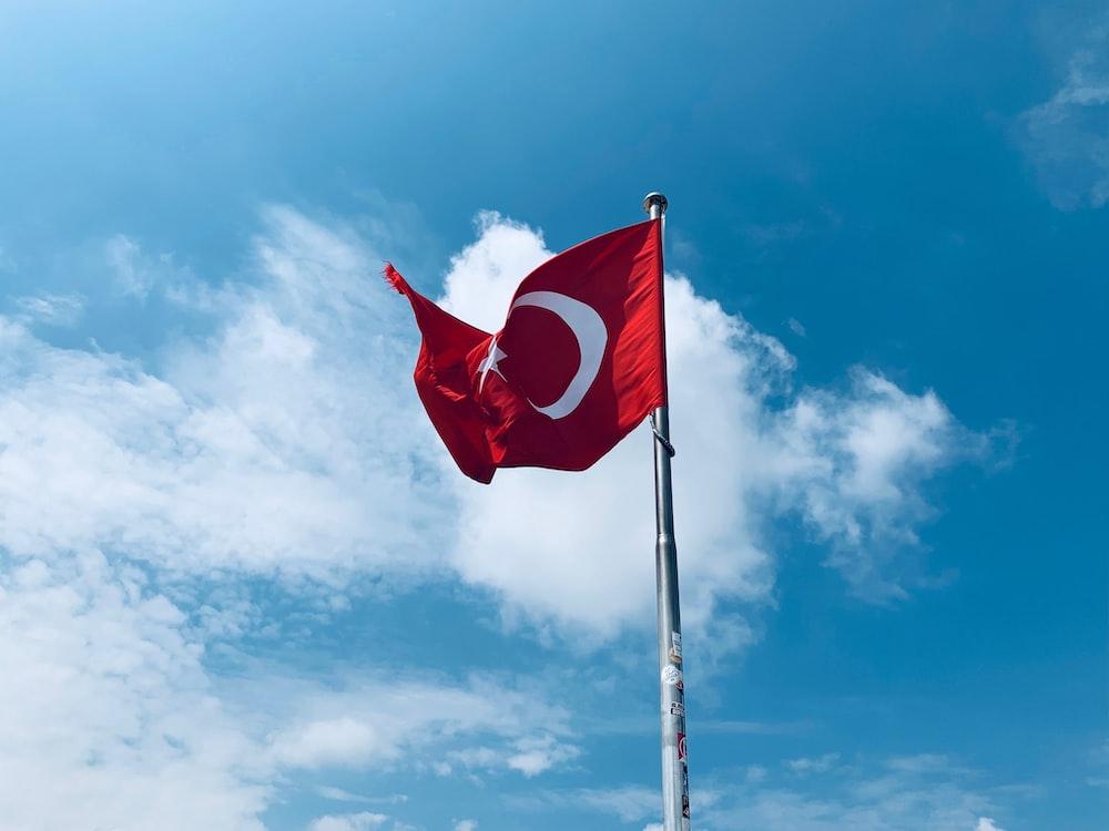 waving Turkey flag