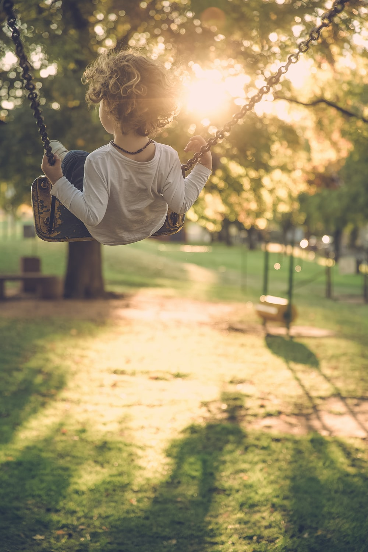 boy sitting on the swing