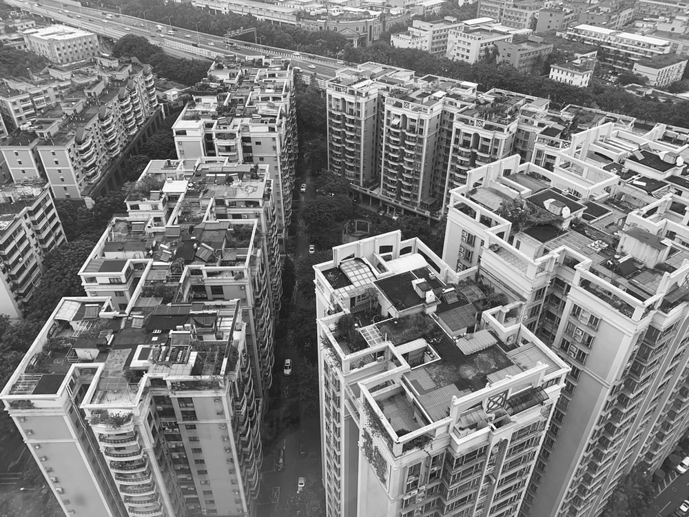aerial view of high rise building