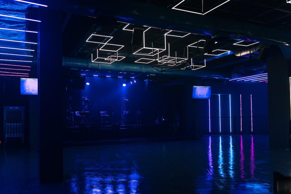 blue-lighted room