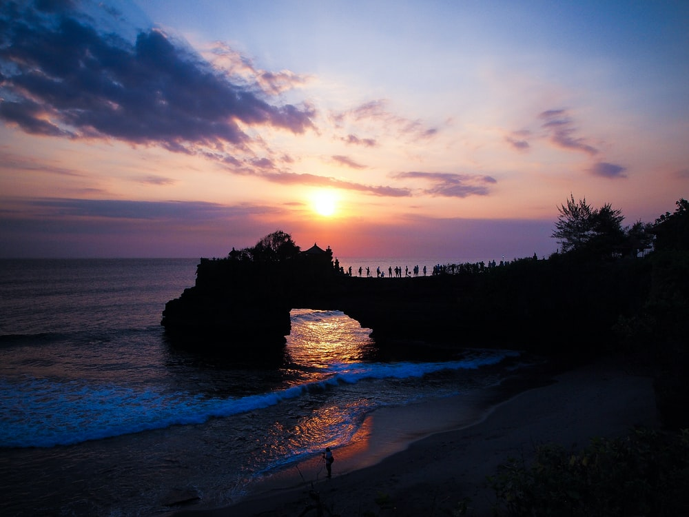 landscape photo of a beach at sunset