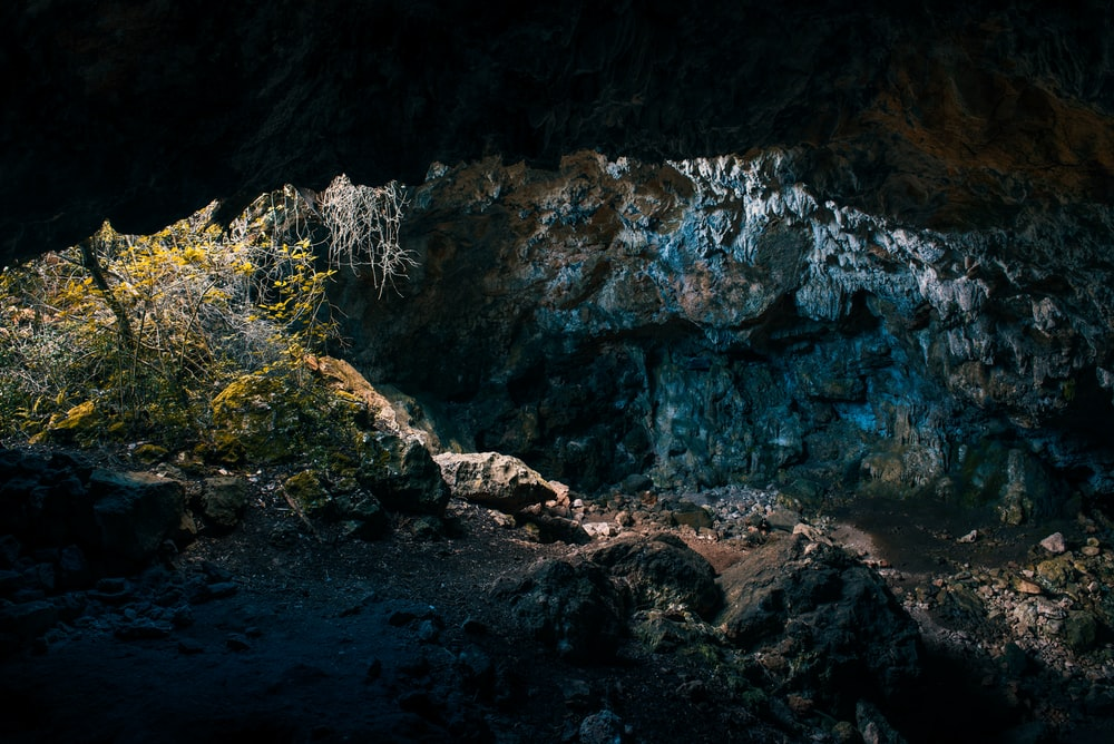 sunlight passing in cave