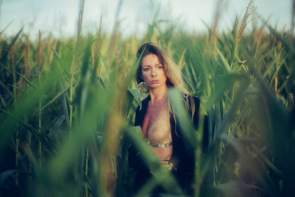 woman standing on corn field at daytime