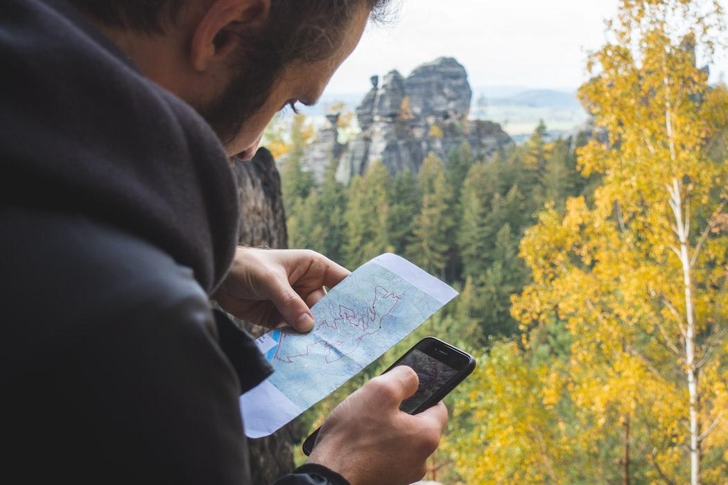 man using phone map
