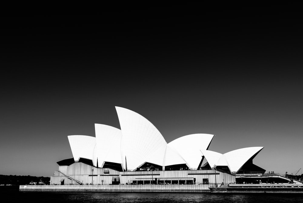 grayscale photography of Sydney Opera House in Australia