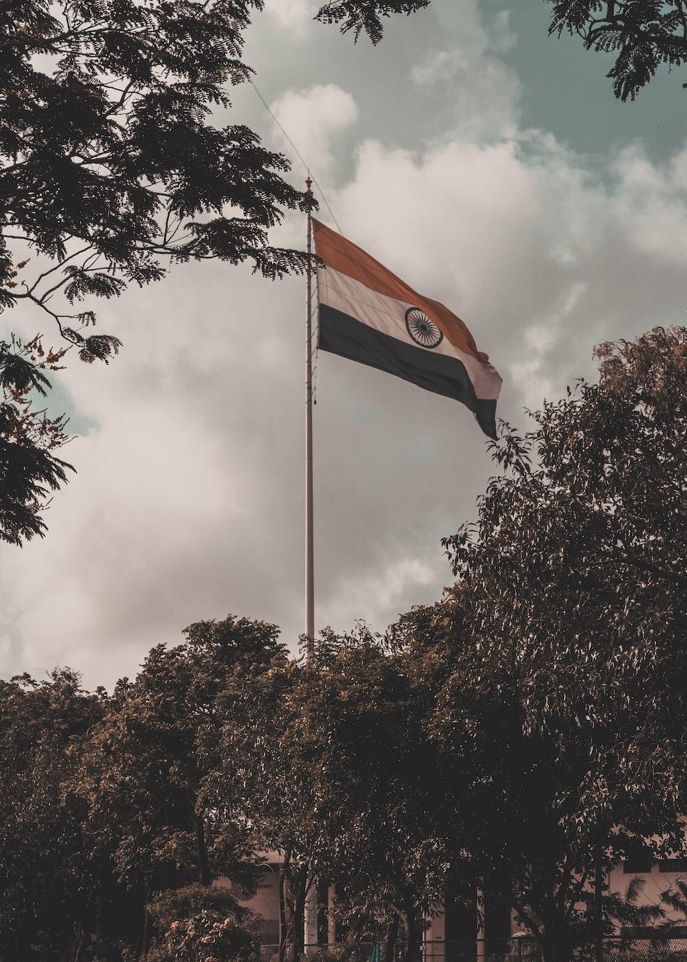 India flag on gray metal pole
