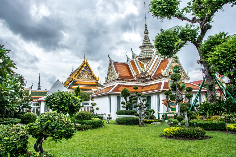 white and orange temple