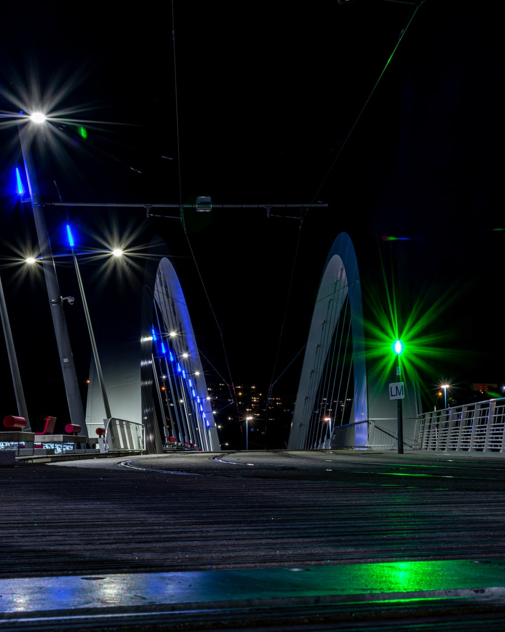 turned on lights on bridge at night