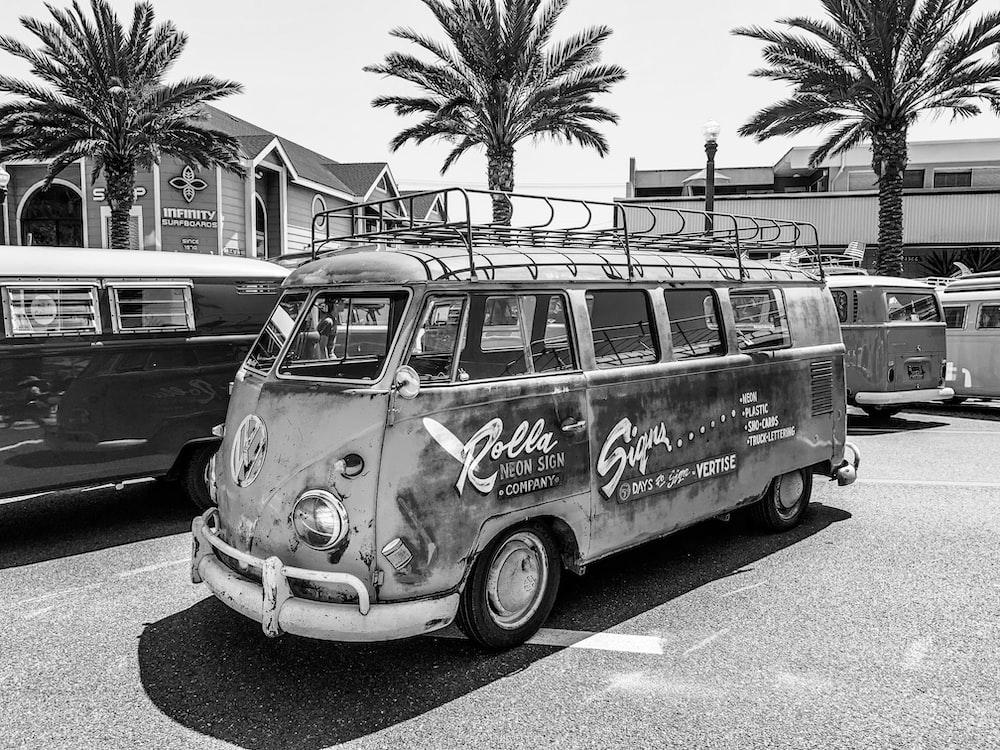 classic Volkswagen van parked beside palm trees