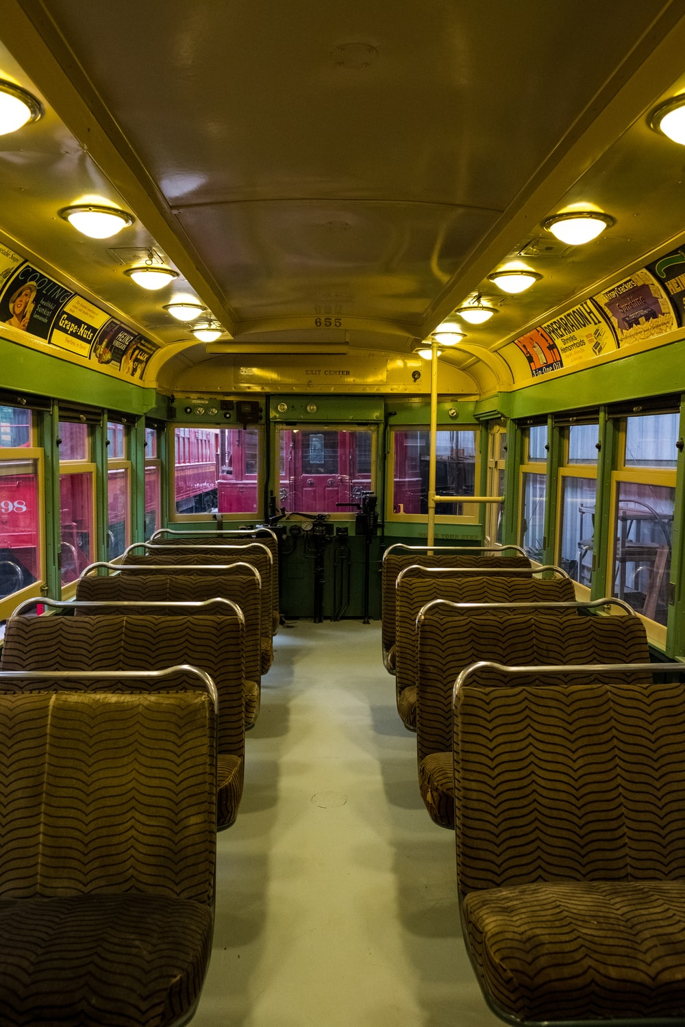 green and brown bus interior