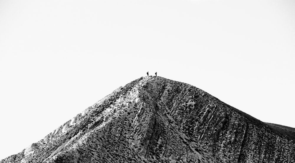black and white mountain close-up photography