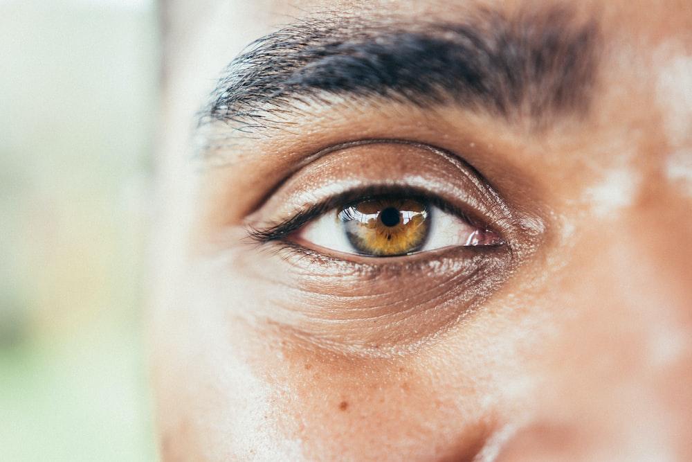 left human brown eyes