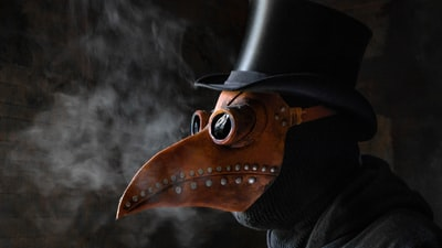 A Cool Cosplay Of An Black-Plague-Doctor With Smoke!