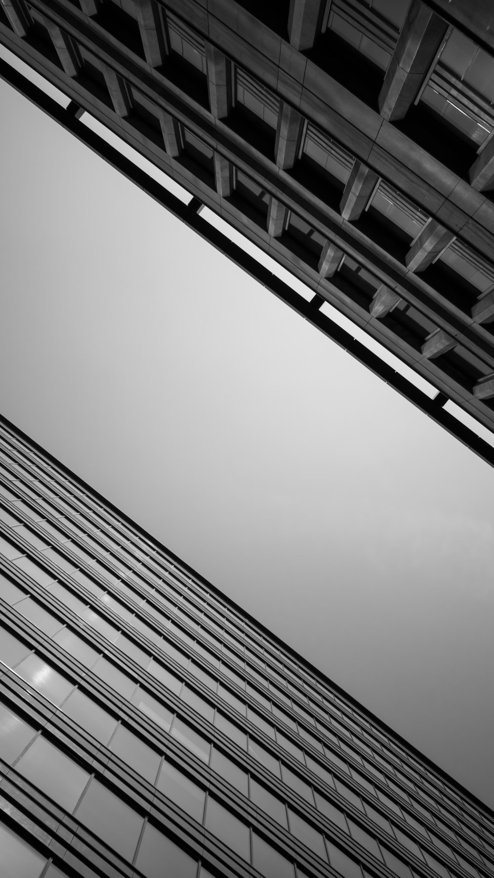 grayscale low-angle photo of buildings