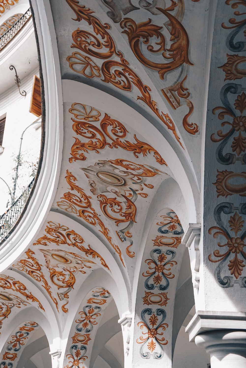white and orange floral ceiling