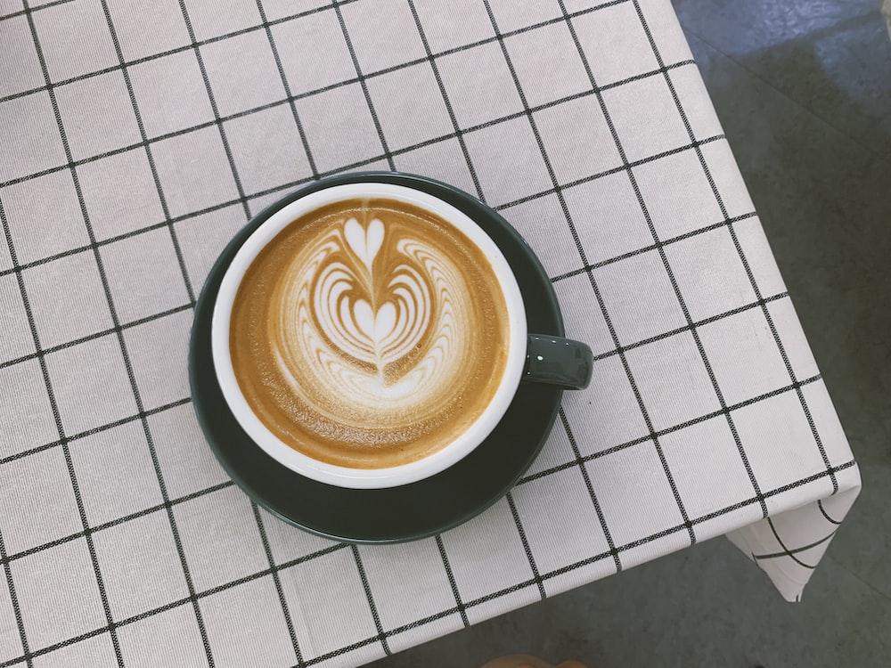 latte in white ceramic mug