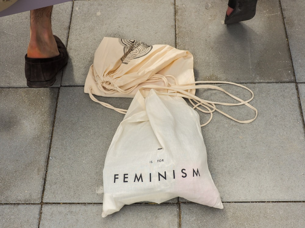 white Feminisim plastic bag