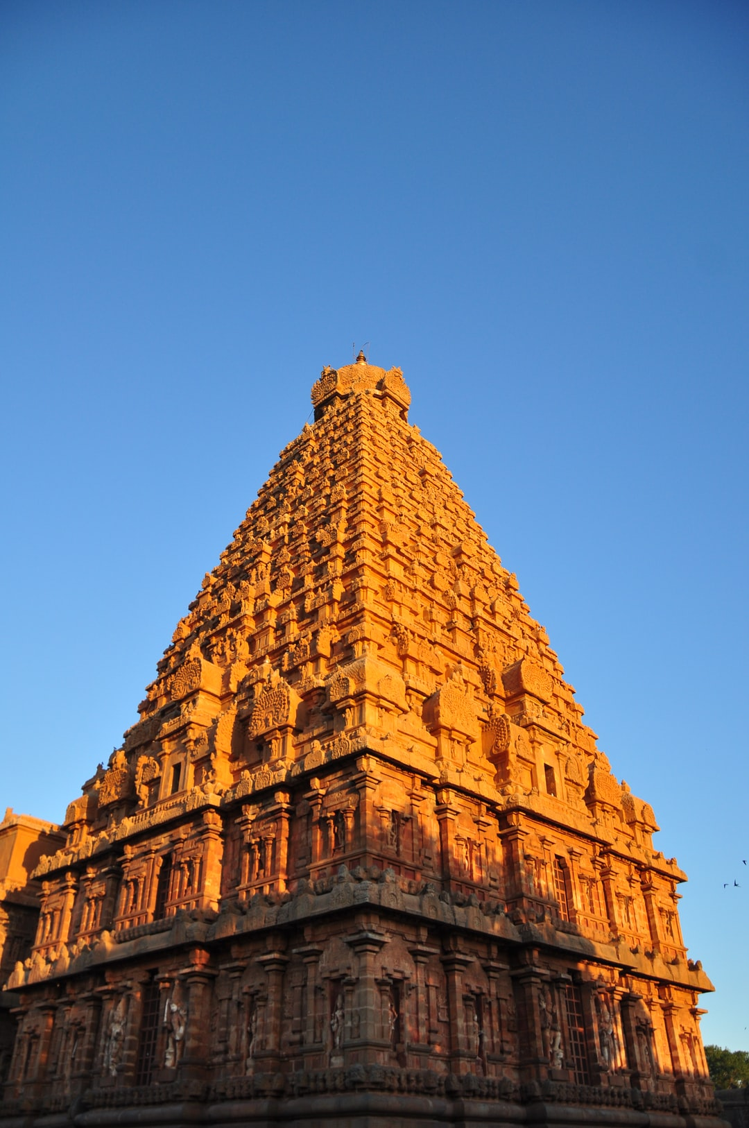 """Brihadishvara Temple, also called Rajarajesvaram or Peruvudaiyār Kōvil, is a Hindu temple dedicated to Shiva located in South bank of Kaveri river in Thanjavur, Tamil Nadu, India.[1][3] It is one of the largest South Indian temples and an exemplary example of a fully realized Dravidian architecture.[4] It is called as Dhakshina Meru (Meru of south).[5] Built by Tamil king Raja Raja Chola I between 1003 and 1010 AD, the temple is a part of the UNESCO World Heritage Site known as the """"Great Living Chola Temples"""","""