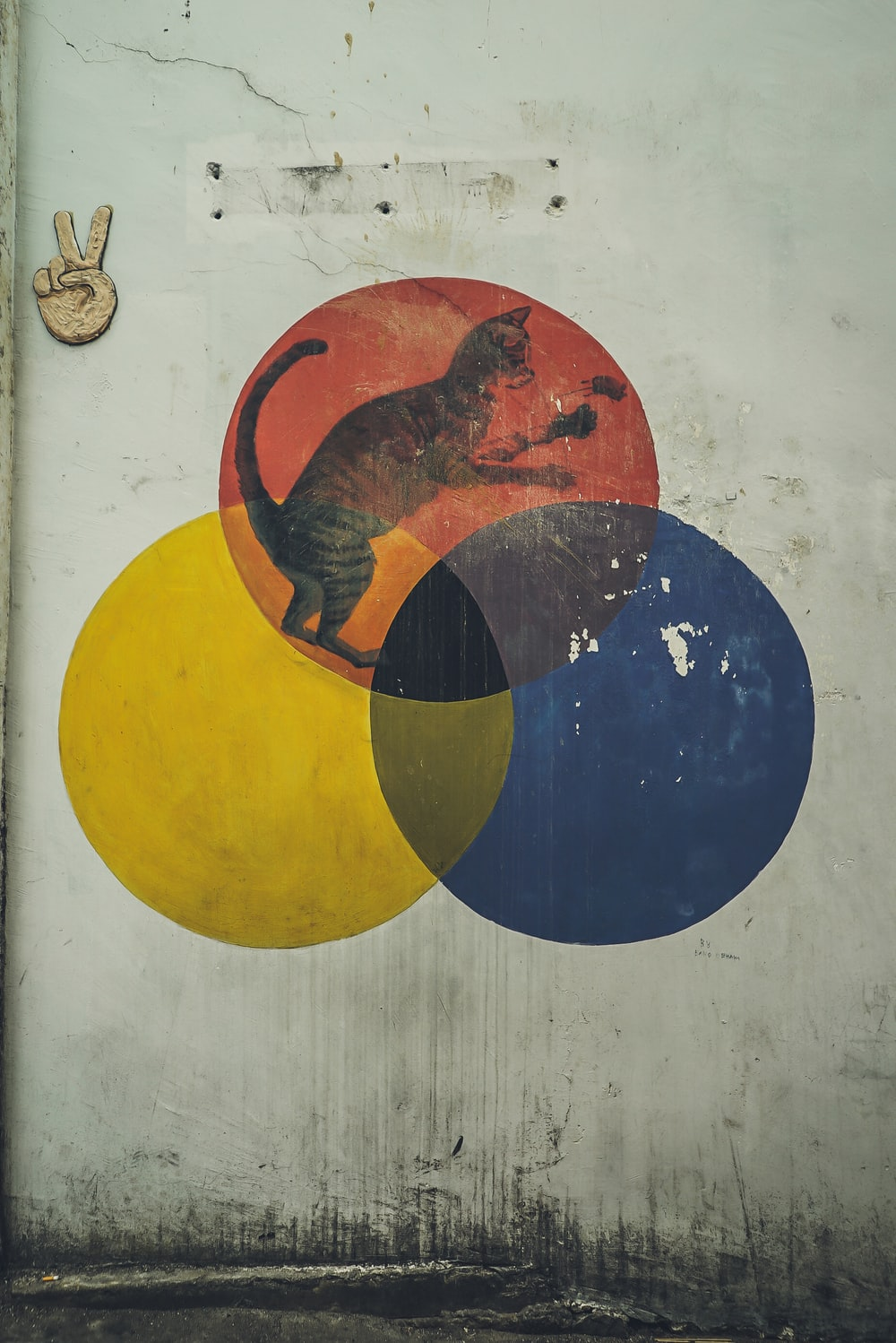 yellow, blue, and red circles with cat wall illustration