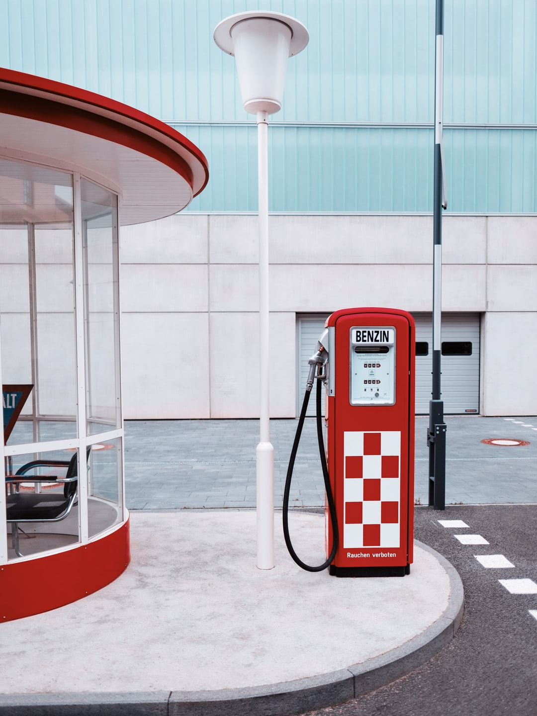 Retro petrol station from the 1960s creating a nostalgic feeling.