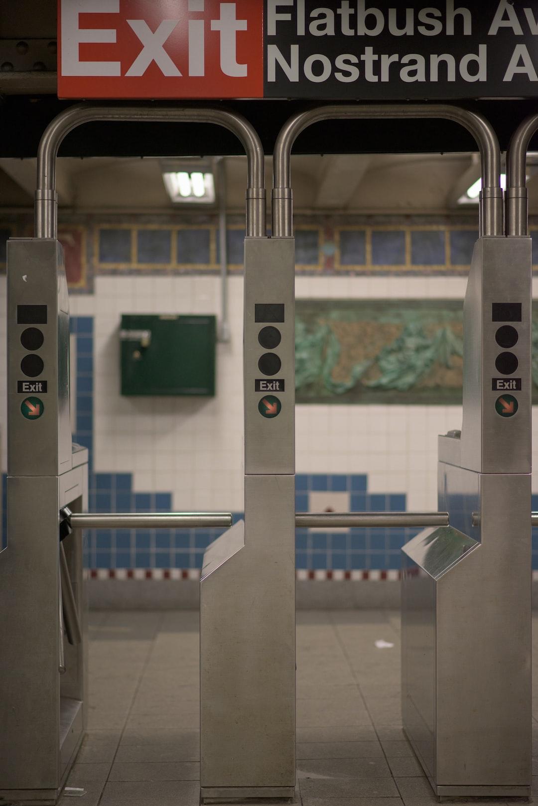 Subway turnstile in Brooklyn, NY.