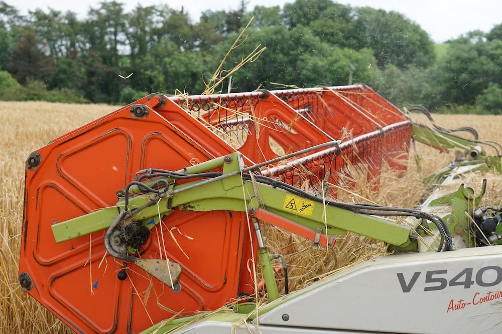 orange combine harvester