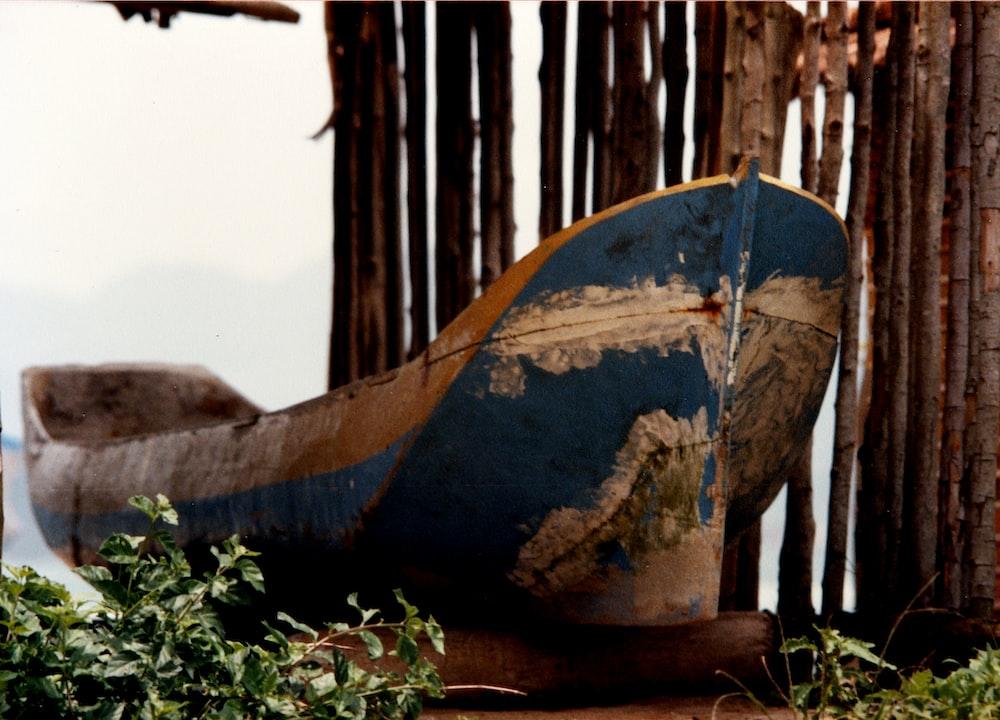 wrecked boat beside tree trunks