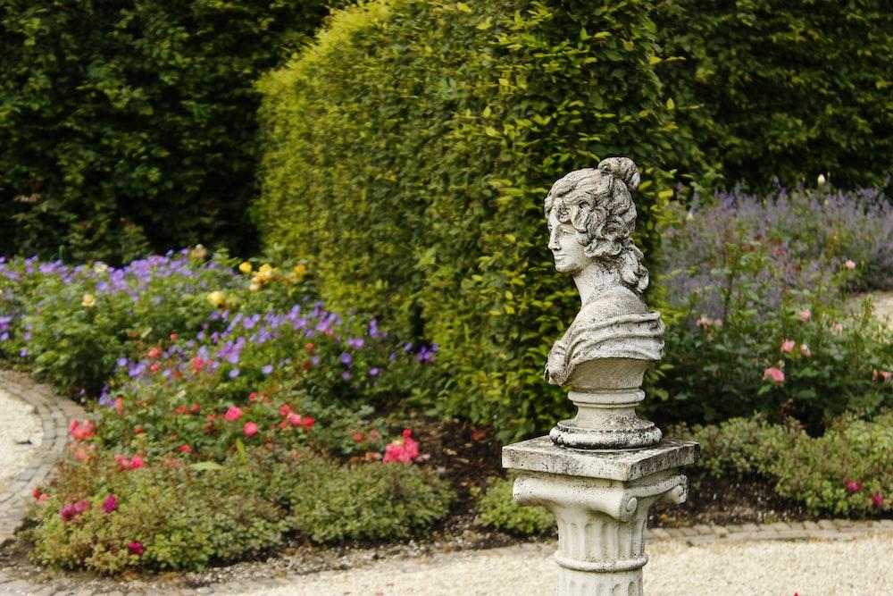 female face statue beside flower field