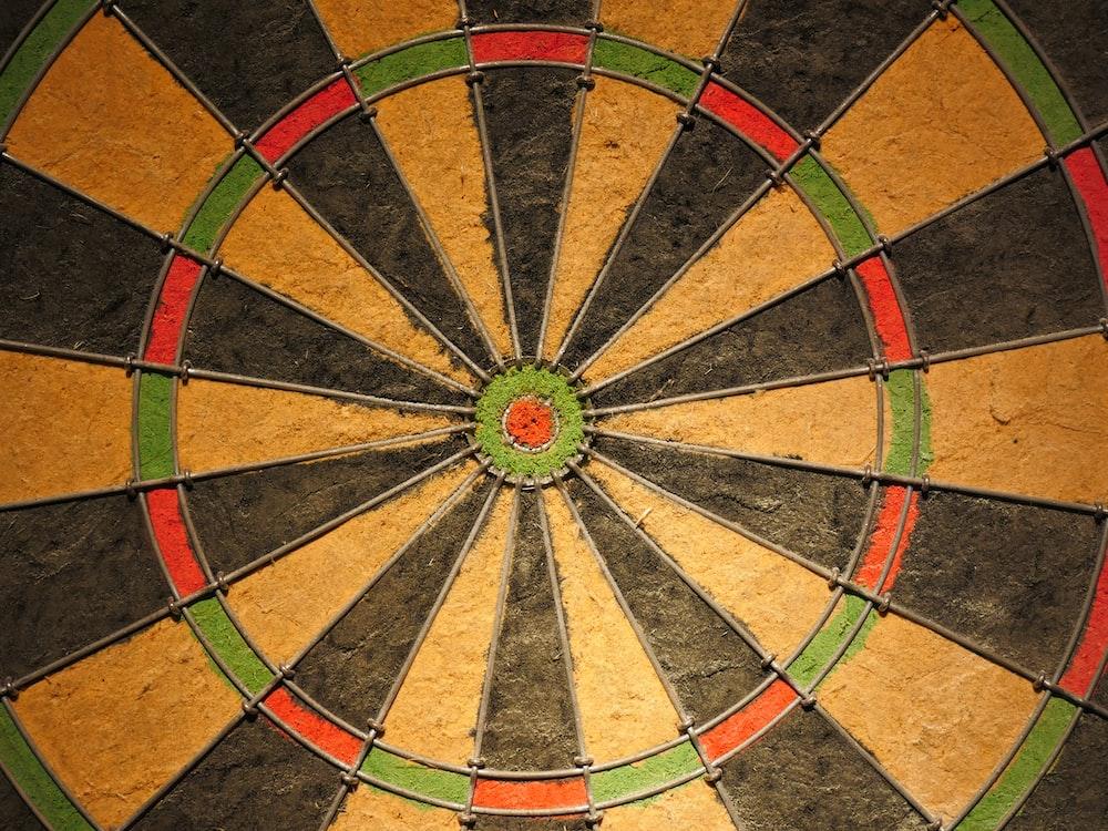 multicolored dart\board